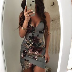Sexy Bodycon Dress Gray Flower Cocktail Party